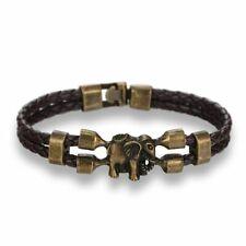 Bangle Genuine Leather Jewelry Bronze Elephant Men Women Friendship Bracelet