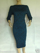 LADIES TEAL/BLACK STRETCH PRINTED BODYCON/PENCIL/WIGGLE MIDI DRESS PLUS SIZE 20