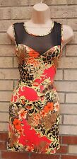 PRIMARK BAROQUE LEOPARD FLORAL YELLOW PINK MESH BODYCON TUBE DRESS TOP 12 M