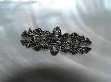Vintage Nonmagnetic Silver Stretched Flower Black Rhinestone & Marcasite Bar Pin