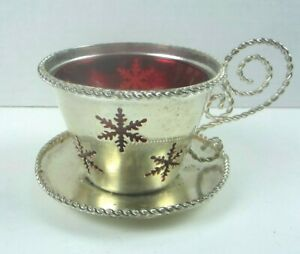 Studio Silversmith's TEA CUP with Red GLASS Insert Candle Holder Snowflakes
