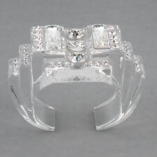 Christian Dior Paris Signed Sculptural Clear Lucite Cuff Bracelet Rhinestones