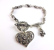 Heart bracelet antique look rhinestones toggle clasp silver tone metal