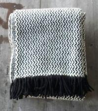 Klippan Sweden 100% Wool Blanket Black and White Zigzag - New
