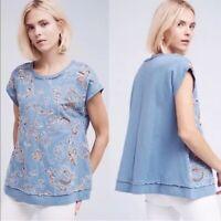 Anthropologie Akemi + Kin Women's Sequin Floral Sleeveless Top Blue Size Small