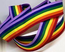 GAY PRIDE LGBT RAINBOW RIBBON TOP QUALITY 35mm WIDE RIBBON IN 3M CUT LENGTHS