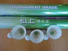 24 New Sosan Green Feather Badminton Shuttlecocks Tournament Grade