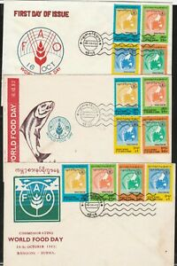 Burma/MYANMAR FDC 1983 ISSUED   FAO COMMEMORATIVE  3 DIFFERENT FDC