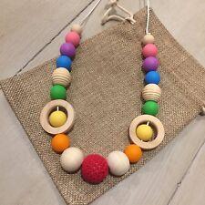 Natural Wood & BPA Free Silicone Nursing Teething Necklace, 80cm  Hand Made