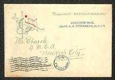 FRANCE ROCHAMBEAU SHIP COVER A.C. TONSEND QMRC SOLDIERS MAIL MILITARY 1918