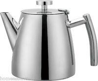 Grunwerg Tea Pot Double Walled Mirror Finish Stainless Steel 1.2L 0.6L 0.35L Ole