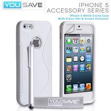 ACCESSORI per APPLE IPHONE 5 BIANCO S-Line in Silicone Gel Custodia Cover & Stylus