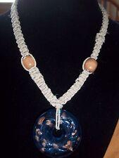 Handmade15 inch NATURAL Hemp Choker with BLUE Glass DONUT Pendant GOTH H-14