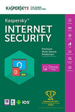 Kaspersky Internet Security 2018, w/Anti-Virus, 3 PC Mac Android iOS, 1Year