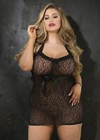 Stretch Leopard Patterened Stretch Lace Chemise Women Valentine Black Queen Size