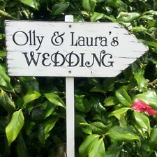 Shabby Wooden Wedding Arrow Sign Vintage Wedding This Way Personalised