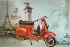 VESPA PIAGGIO SCOOTER PARIS EIFFEL TOWER POSTCARD ART DECO METAL PLAQUE B298