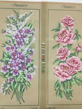 "2 Gobelin Roses Bouquet Flower CANVAS 15""X12"" Needlepoint Floral Pink Purple Red"