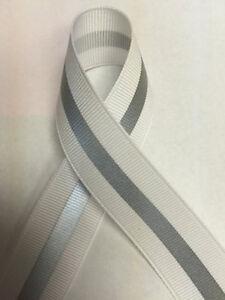 """7/8"""" White - 1/4"""" 3M Silver Reflective Stripe Grosgrain Ribbon"""