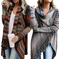 Womens Winter Tassel Striped Jumper Sweater Open Cardigan Fringe Shawl Tops Coat