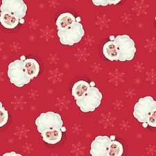 Christmas Fabric Vintage Santa Faces Red Lewis & Irene Cotton Fabric