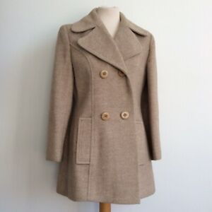 C&A Vintage 1960s Wool & Mohair Style Pea Coat Jacket Size 10 Medium - Mod Gogo
