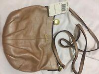 COACH Beige Multi Color Soho Op Linen Pleated Sling Crossbody Bag