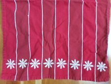 Crate & Barrel Kitchen Dish Towel Snowflake Christmas Red Stripe Embroider White