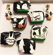 Lot of 8 Cow Holstein Button Covers Hand Painted Wood Dangle Earring Set