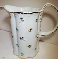 I Godinger Porcelain Pitcher Rosebud Pattern Flowers Gold Trim ***chip on rim***