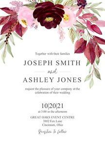 Boho Burgundy Rose Floral Wedding Invitations 50