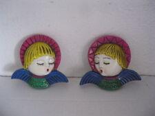 Vintage Singing Angel Wall Plaques set 2 Japan Wall Hanging