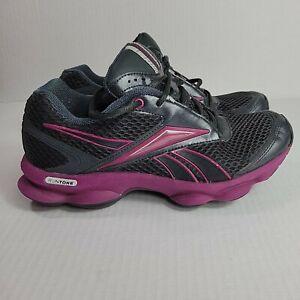 Reebok RunTone Action Running Toning Walking Shoes Black Purple Womens size 6