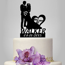 Personalized Mr & Mrs Wedding Cake Toppers Decoration Bride And Groom with Date