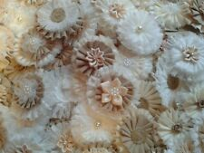 REDUCED! 10 Fabric flowers. wedding. pearls, lace. Vintage. Shabby-Chic. BURLAP.