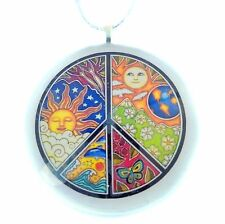 "Peace Sign 2"" Glass Circle Christmas Ornament"