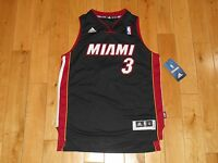 New adidas rev30 DWYANE WADE Black MIAMI HEAT Youth NBA Team Swingman JERSEY Med