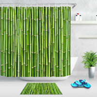 Shower Curtain Set Polyester Waterproof Fabric Sprout Bamboo Forest Background