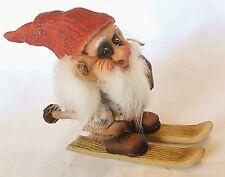 "NyForm Nisse on Skis {small} 5.25"" tall 6.25"" long Norwegian Santa Swedish Tomte"