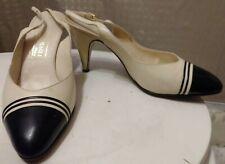 Vintage Women's Bruno Magli Ivory And Black Slingback Spectator Pumps Size 7.5