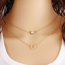 New Crystal Horseshoe Pendant Necklace Multi-layer Gold Chain Necklace Jewelry