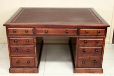 ANTIQUE PARTNERS DESK CIRCA 1900 LEATHER TOP DEEP WRITING SURFACE