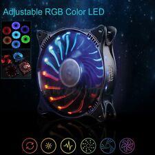 Adjustable RGB Light 7 Colors LED Fan 120mm 3pin/4pin PC CPU Case Cooling Fan