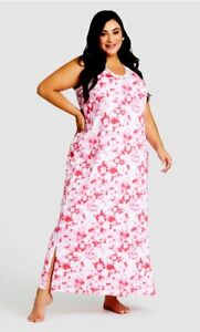 Avenue Maxi Sleep Long Dress V Neck Pink Tie Dye Womens Plus Size 18/20 New $40
