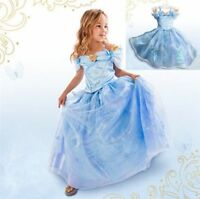 Princess Cinderella dress Fancy Dress Party Gown Blue FREE Tiara