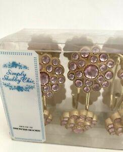 Shower Curtain Hooks Simply Shabby Chic/Rachel Ashwell Set 12 Pink Rhinestone NW