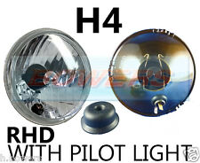 "5.75"" 5 3/4"" CLASSIC CAR CRYSTAL HEADLAMP HEADLIGHT HALOGEN H4 UPGRADE + PILOT"