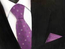 Schöne Krawatte + Einstecktuch in lila flieder grau gemustert - Tie Polyester