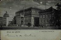 Berlin Mondscheinkarte ~1900 Pferde Fuhrwerk am Palais Kaiser Wilhelm III.