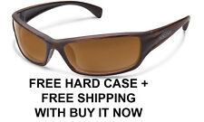 Suncloud Hook Sunglasses - Burnished Brown/Brown Polarized Lens + Free Hard Case
